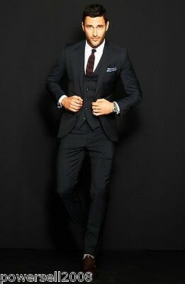 Custom Made Fashion Black Regular Lapel Button Broadcloth Groom Wedding Suits !