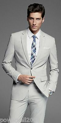 Custom Made Fashion High Quality Silver White Regular Broadcloth Wedding Suits !