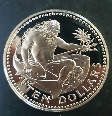 1975 Barbados 10 Dollars Silver Proof Coin (God of the Sea Poseidon)....