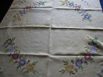 Vintage Embroidered Tablecloth  yellow Table Cloth 82 X 82cm approx