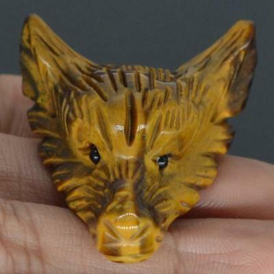Howling Wolf Yellow Tiger Eye Gemstone Animal Pendant Hand Carved Stone Necklace