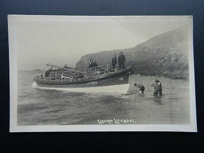 Cornwall THE LIZARD LIFEBOAT & CREW - Old RP Postcard by B. Hawke of Helston