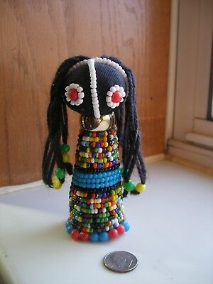 South African Ndebele Multicolored Handmade 4.5 Inch Beaded Doll