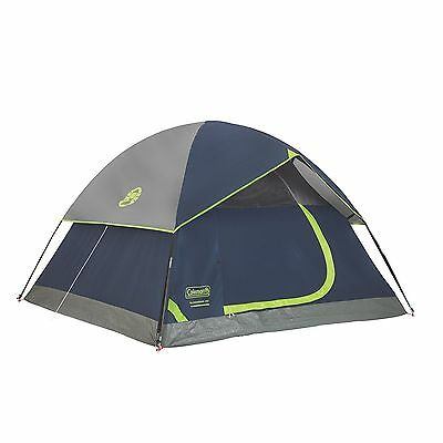 Coleman Sundome 4 Person Dome Tent Navy Grey Canopy Camping Hiking Polyester New
