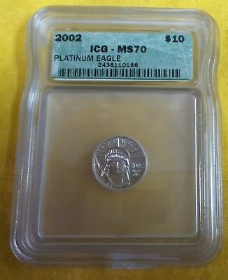 2002 $10 1/10 oz Platinum American Eagle ICG MS-70