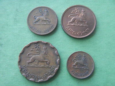 Africa 4 Coin Lot Ethiopia 1944 25¢ 10¢ 5¢ and 1¢ cent coins