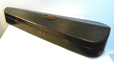 ANTIQUE FULL SIZE COFFIN STYLE WOOD VIOLIN CASE, for RESTORATION