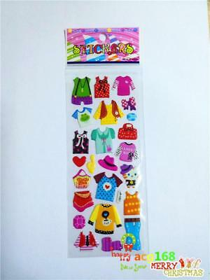 Xmas 1pc Puffy Cartoon Clothes Stickers 3D PVC Lot Craft Kid Party Toy Wall Gift