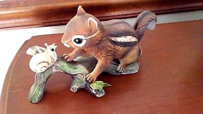 1980 Homco Porcelain Chipmunk With a Snail ~ MINT