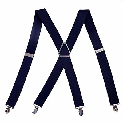 "men's big and tall x-back clip suspenders 1.5"" wide adjustable 55"" long (navy"