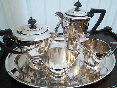 MAPPIN & WEBB Quality silver plate 4 piece TEA / COFFEE SET WITH MATCHING TRAY