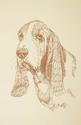 BASSET HOUND DOG ART #47 Stephen Kline draws dogs name free. DRAWN FROM WORDS