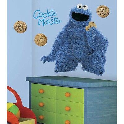 COOKIE MONSTER GiaNT WALL DECALS MURAL Sesame Street Stickers Baby Nursery Decor