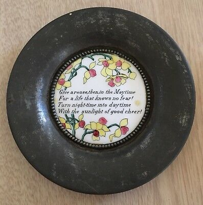 Antique 19th Century O'Hara Dial Co Hand Painted Enamel Coaster Plate Stein Song