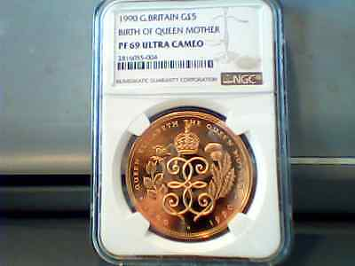 UK £5 Gold 1990 With NGC PF69  Birth Of Queen Mother