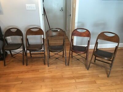 Set of 4 Antique Vintage BJ Harrison Son Co Winsted Conn Wooden Folding Chairs