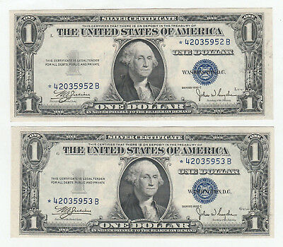 Consecutive Pair of 1935-C $1 Silver Certificate Star Notes--Ungraded