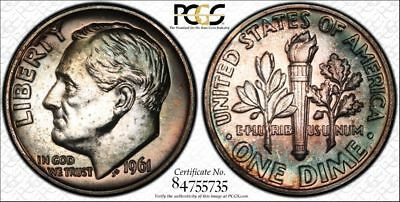 1961 PR66 Roosevelt Dime 10c Proof graded by PCGS as PF66 & Toned with Trueview!