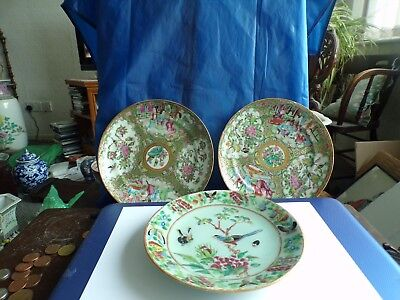 Three Antique Chinese Porcelain Plates 19Th Century