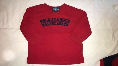 Baby Boys Ralph Lauren Long Sleeved Top Red Age 18 Months