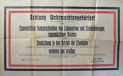 1941 WWII Germany Serbia military railway transport poster RRR