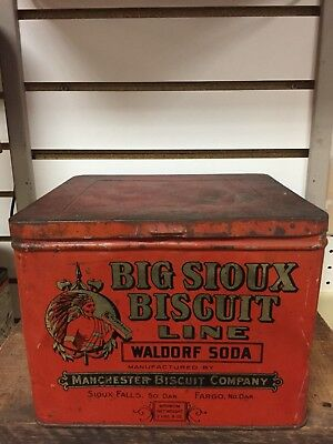 Vintage Rare Big Sioux Biscuit Line Tin - Manchester Biscuit Co.