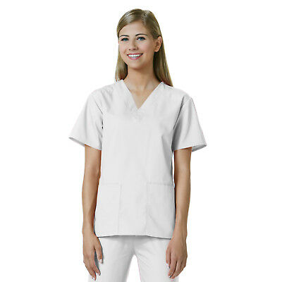 5d6bd5f1c1a Maevn Core 1016 2-Pocket V-Neck White Top Medical Scrubs Womens Sizes 2Xs