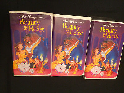 Vintage RARE Disney Black Diamond VHS Tapes Beauty And The Beast 1992, Lot OF 3