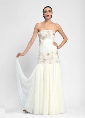 Authentic Sue Wong Strapless Dropped Waist Ivory Bridal Gown / Wedding Dress NWT