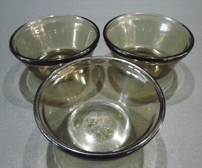 3-Custard Cups, Amber Glass,    L'ovenware,   6 oz.,    FREE SHIppINg & Tracking