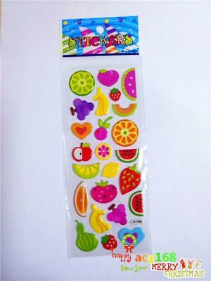1pc Puffy Cartoon Stickers Alive Xmas Stick Fruits Lot Craft Kid Party Toy Gifts