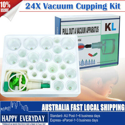 24 Cups Set Vacuum Cupping Kit Body Massage Acupuncture Suction Massager Relief