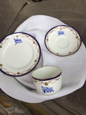 Vintage Very Rare Early U.S.S.C.O Ships Cup Saucer And Plate Made Foley