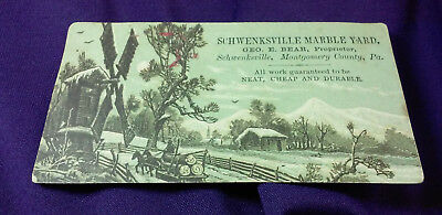 Rare Antique Schwenksville Marble Yard Montgomery County Pa Trade Card