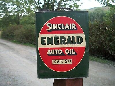 VINTAGE ANTIQUE EARLY Sinclair Emerald Auto Oil 2 Gallon Advertising Can