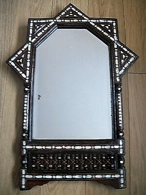 Large Stunning Antique  Anglo/indian Inlaid Wooden Mirror