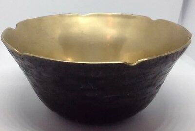 Brass Bowl Hammered Bronzed Small Solid Vintage Scalloped Decorative