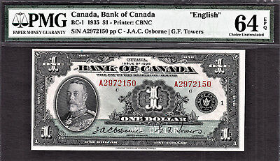 "1935 Bank of Canada $1 BC-1 ""ENGLISH"" Choice UNC PMG 64 EPQ"