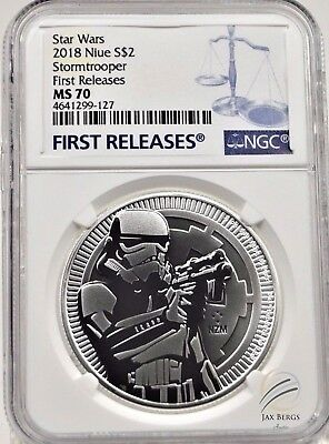 2018 NGC MS70 Niue $2 STORMTROOPER  FIRST RELEASES .999 Silver Coin