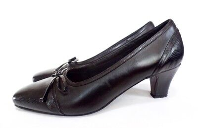 Vintage 90s Step Up Black Leather Bow Reptile Spectator Oxford Pump Heel 12