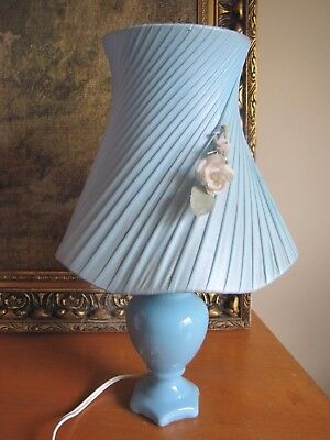 Vintage Table / Bedside Lamp With Original Ribbon Shade - Mid Century / Retro