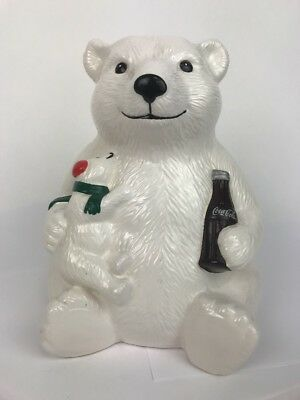 Vintage Christmas Coca Cola Polar Bear and Baby Cookie Jar Teleflora 1998 No Lid