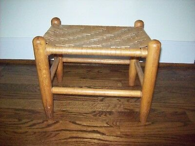 Vintage Wooden Footstool with Woven Wicker Top