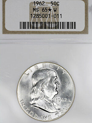 1962-P MS65 STAR W Franklin Half Dollar 50c, NGC Graded, Bright White PQ!