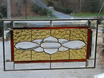 Amber/Rust Stained glass and Beveled Transom-Handmade #148