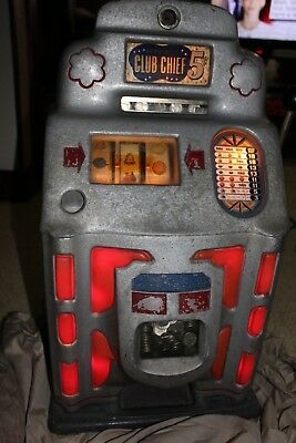 Vintage Jennings Standard Chief 5 Cent Nickel 1940's Slot Machine No Key