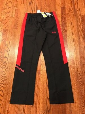 NWT Under Armour Boy's Size YLG Warm Up Pants (Vital?) Ripstop Nylon ~Blk/Red~