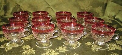12 Vintage Colony Indiana Glass Ruby Band Diamond Point Punch Bowl Cups