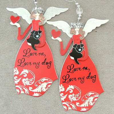 Christmas Ornament Metal ANGEL Love me Love my Dog Red Lot of 2