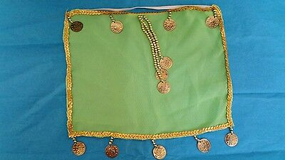 Belly Dance Costume Face Veil Green with gold coins and beads and sequin trim